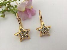 Estrella Pendientes de oro tono con piedrería cristal Envío Gratuito