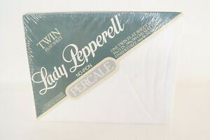 Lady Pepperell No-Iron Percale Twin Flat Sheet White 50% Dacron Polyester - New