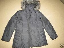 GREAT Calvin Klein black down winter coat w/ removable hood w/ fake fur womens L