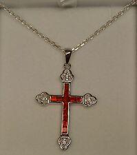 Collier Croix Sertie de 12 Rubis et Diamant Cz 45mm en Argent 925 Dolly-Bijoux