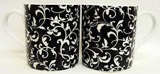 Vénitien Tasses Set of 2 Porcelaine Fine Noir Décorée À La Main au Royaume-uni