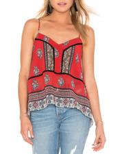 Cynthia Vincent Red Printed Sleeveless W/ Lace Trim Hanky Hem Top Cami Sz L