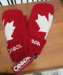 Hudson's Bay Canadian Maple Leaf Red Olympic Knit Mittens Adult S M Canada NWT