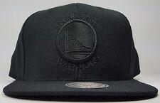 Golden State Warriors Mitchell & Ness Black Solid Wool HWC Snapback Hat Cap NBA