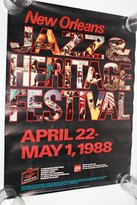 "April 22 1988 New Orleans Jazz & Heritage concert 29"" x 22"" Original Poster"