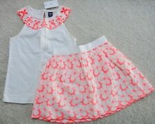 Baby GAP Girl Eyelet Shirt Top & Scalloped Embroidered Skirt Outfit Set 5 NWT$50