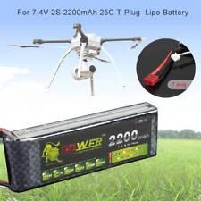 7.4V/2S 2200mAh 25C LiPo Battery T Plug R/C Model Aircraft Lipolymer Power Pack