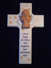 Kinderkreuz m.Schutzengel Einschulung Taufkreuz Taufe Geburt Holzkreuz Geschenk