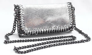 Clutch Genuine Leather SILVER Cross Body Chain NEW ! Made in Italy Shoulder Bag
