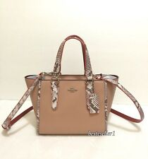 New COACH F11750 CROSBY CARRYALL 21 IN PYTHON BAG EMBOSSED LEATHER TRIM