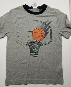Gymboree Basketball Short Sleeve, Crew-Neck T-Shirt. Gray- Size (4/ 5 / 6)