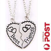 NEW Best Friends Necklace Sliver Heart Set Pendant Friendship Charm Gift BFF Set
