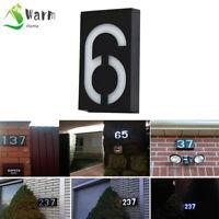 Solar Power LED Light Sign House Door Address Plaque Number Digits Plate 0-9