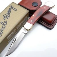 Uncle Henry Schrade Smoky Folding Knife Stainless Blade Woodgrain Handle LB5