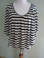 Happening in the present black grey cream striped  blouse shirt top size M