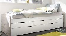Bett Einzelbett Ausziehbett Schubladenbett Tandembett 90cm Weiß Sandeiche