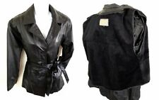 VTG Leather Overcoat Women Size M Warm Lined Removable Belt Union Made Outerwear