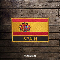 Spain National Flag With Name Embroidered Iron On Sew On Patch Badge