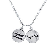 Lux Accessories Silver Tone Zodiac Aquarius Astrological Engraved Charm Necklace