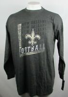 New Orleans Saints Mens Big & Tall Charcoal Majestic L/S 2-Hit Screen Tee NFL