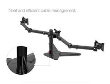 """Triple Monitor Arms Free Standing Desk Mount Stand for 3 LCD Screens up to 27"""""""