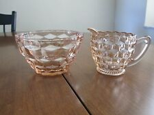 JEANNETTE GLASS PINK CUBIST CREAMER AND BOWL 1929-1933
