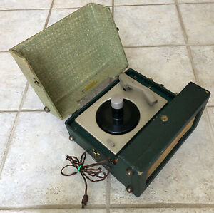 Vintage RCA Victor Portable Tube Record Player Green 45 Rpm Only - Spins - READ