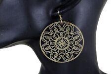 Women Fashion Jewelry Hook Earrings Set Gold Metal Classic Flower Round Charm
