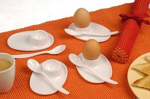 Set of 4 Egg & Spoon holder Breakfast Plastic Eggcups with Spoon Rest Kitchen
