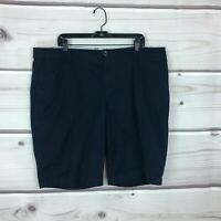 JCP Penney Womens 22W Cotton Stretch Chino Bermuda Shorts Mid Rise Solid Black