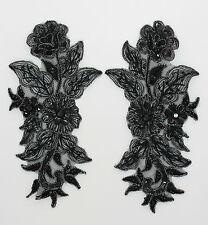 Handmade Venise Lace Sequins Applique Trim Motif  M Black #13