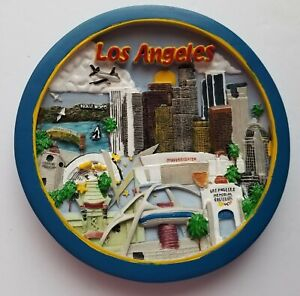 Los Angeles Decorative Plate 6 inch Wall Table Decor Colorful City Landmarks