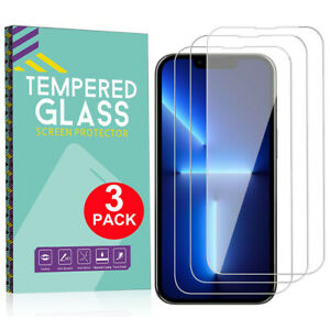 3 PACK For iPhone 13 12 Pro Max Full Coverage Tempered GLASS Screen Protector