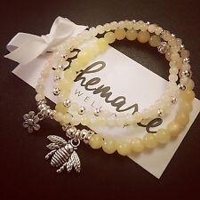 Yellow jade bumble bee charm bracelet trio gemstone bijoux jewellery boho gypsy