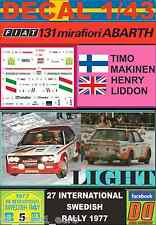 DECAL 1/43 FIAT 131 ABARTH T.MAKINEN SWEDISH R. 1977 (LIGHT) (01)