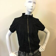 E-vie Ladies Black Short Puff Sleeve Zip Collar Pocket Pintuck Jacket UK Size 8