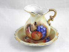 Vintage Artmark Fruit Pitcher And Bowl Gold Trim Made In Japan Apple Grape