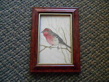 Home Decor Framed Desk Top Picture of Bird w/ Red Maybe Painting or Drawing