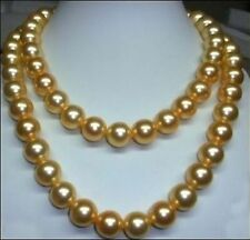"""HUGE NATURAL 10-11MM SOUTH SEA GOLDEN PEARL NECKLACE 36"""" 14K GOLD CLASP"""