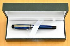 Monteverde Prima Fountain Pen Blue Black Pearl Stripes Medium Nib Original Case