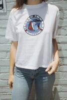 brandy melville white crop crewneck Aleena Newport beach sailing top NWT sz S/M
