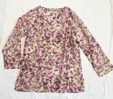Loft Pink And Brown Smudge Print Tunic Top With Long Sleeves Sz L NWOT