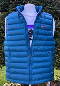 Patagonia Men's Down Sweater Vest Large Crater Blue New