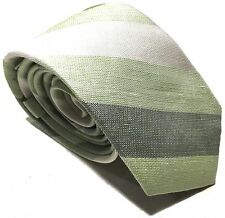 Mens Express Neck Tie Slim Skinny Silk Linen Green White Narrow 2.75 in.