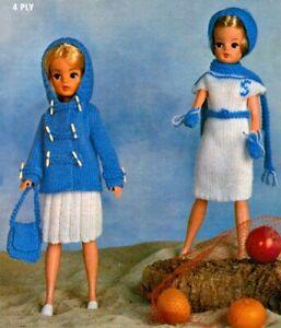 Sindy Barbie Dolls Clothes Knitting Pattern Duffel Coat, Bag, Dress, Skirt