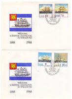 DDR, 2 x FDC 500 Jahre Schiffer-Compagnie MiNr. 3198 - 3201 ESSt 20.09.1988