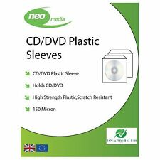 100 NEO CD DVD Plastic Sleeves with Flap (Stitched Edge) 150 Micron Clear NEW HQ
