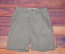 """Alan Flusser Men's Golf Tan Khaki Shorts 32"""" W x 10"""" L 21"""" Outseam Side Pocket"""