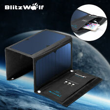 BlitzWolf 20W 3A Foldable Portable Solar Sun Charger USB Dual Port For iPhone US
