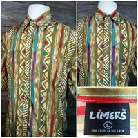 Vtg Limers Mens Large Short Sleeve Button Front Rayon Casual Hawaiian Shirt EUC!